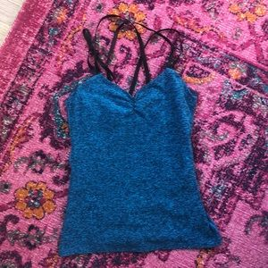 Beyond yoga blue space dye strappy tank